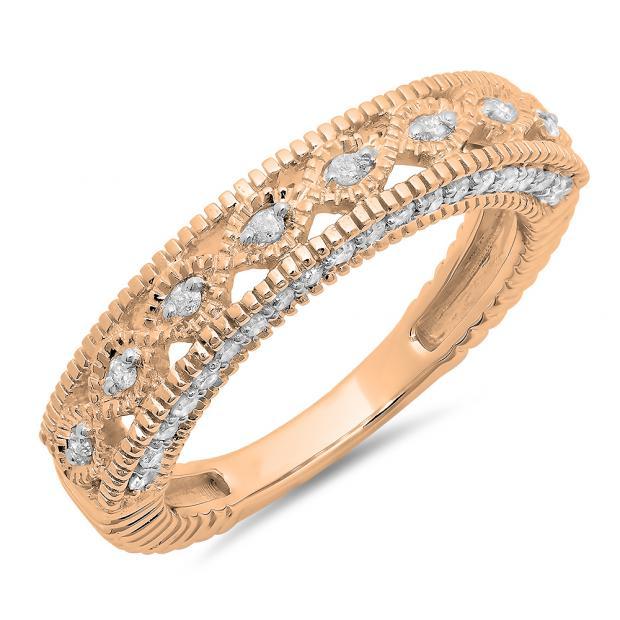 0.40 Carat (ctw) 18K Rose Gold Round Cut Diamond Ladies Vintage Style Millgrain Anniversary Wedding Stackable Band