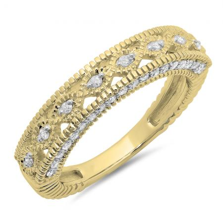 0.40 Carat (ctw) 18K Yellow Gold Round Cut Diamond Ladies Vintage Style Millgrain Anniversary Wedding Stackable Band