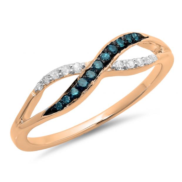 0.15 Carat (ctw) 18K Rose Gold Round Blue & White Diamond Ladies Anniversary Wedding Crossover Swirl Band