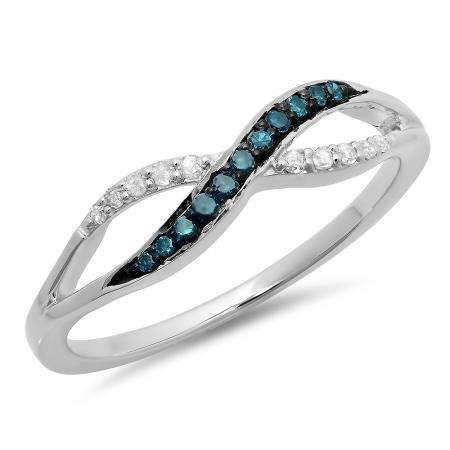 0.15 Carat (ctw) 18K White Gold Round Blue & White Diamond Ladies Anniversary Wedding Crossover Swirl Band
