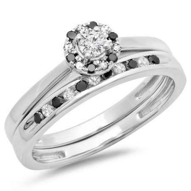 0.40 Carat (ctw) 10K White Gold Round Black & White Diamond Ladies Bridal Halo Engagement Ring With Matching Band Set