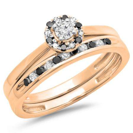 0.40 Carat (ctw) 18K Rose Gold Round Black & White Diamond Ladies Bridal Halo Engagement Ring With Matching Band Set