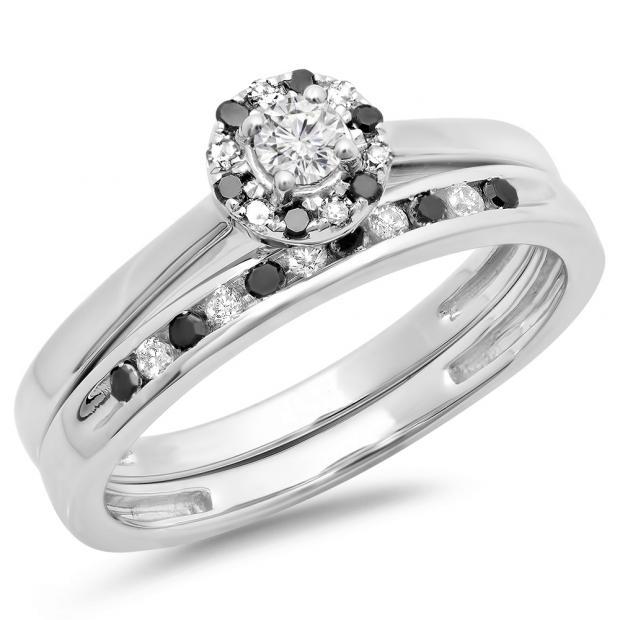 0.40 Carat (ctw) 18K White Gold Round Black & White Diamond Ladies Bridal Halo Engagement Ring With Matching Band Set