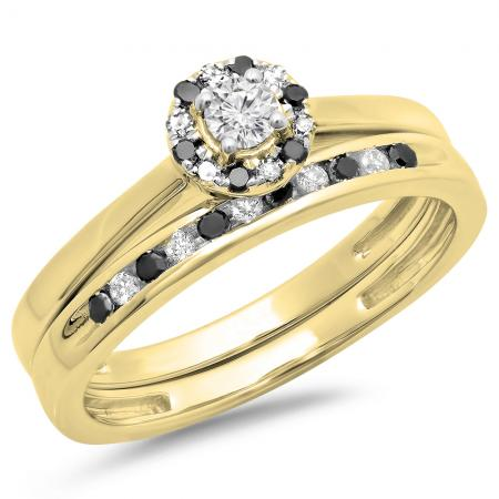 0.40 Carat (ctw) 18K Yellow Gold Round Black & White Diamond Ladies Bridal Halo Engagement Ring With Matching Band Set
