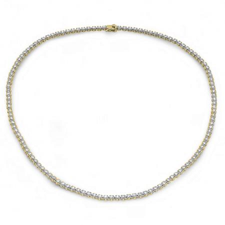 5.00 Carat (ctw) 14K Yellow Gold Real Round Diamond Ladies Tennis Necklace 5 CT