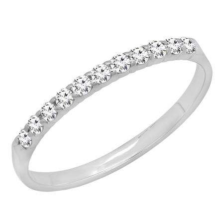 0.20 Carat (ctw) 14k White Gold Round Diamond Ladies Anniversary Wedding Ring Stackable Band 1/5 CT