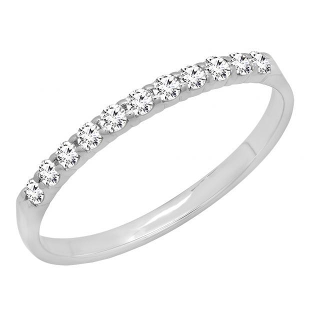 0.20 Carat (ctw) 14k White Gold Round Diamond Ladies Anniversary Wedding Ring Stackable Band 1/5 CT