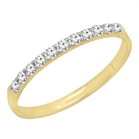 0.20 Carat (ctw) 14k Yellow Gold Round Diamond Ladies Anniversary Wedding Ring Stackable Band 1/5 CT