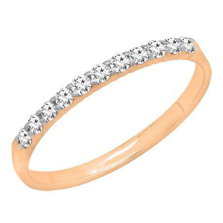 0.20 Carat (ctw) 18k Rose Gold Round Diamond Ladies Anniversary Wedding Ring Stackable Band 1/5 CT