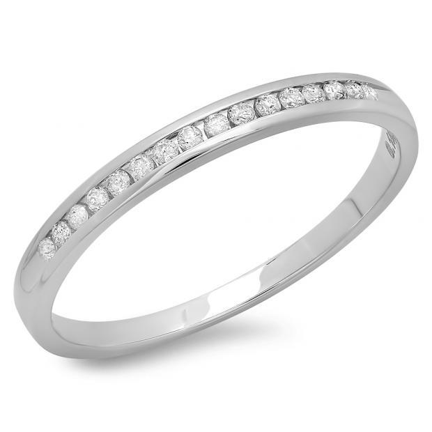 0.10 Carat (ctw) 14k White Gold Round Diamond Ladies Anniversary Wedding Stackable Band Ring 1/10 CT