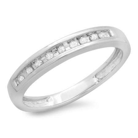 0.10 Carat (ctw) 10k White Gold Round Diamond Ladies Anniversary Wedding Ring 1/10 CT