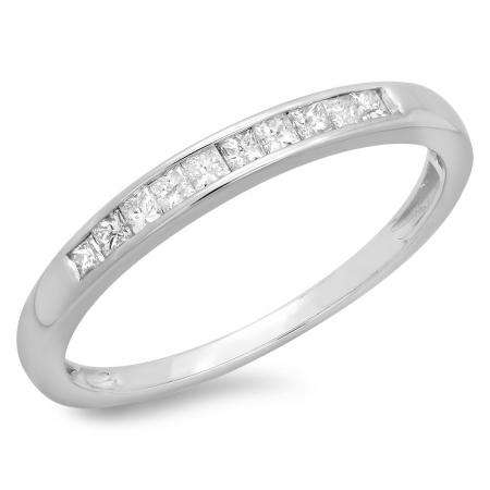 0.19 Carat (ctw) 10k White Gold Princess Cut Diamond Ladies Anniversary Wedding Stackable Ring Band