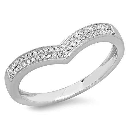 0.16 Carat (ctw) 10K White Gold Round Diamond Ladies Anniversary Wedding Stackable Band Guard Chevron Ring