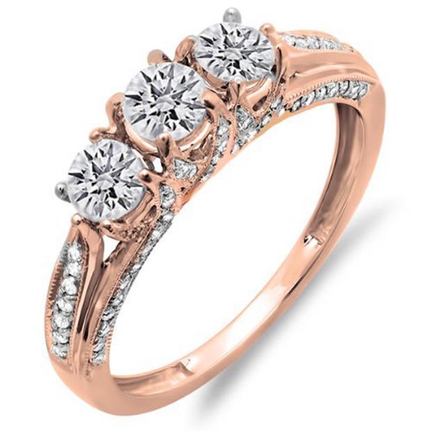 1.00 Carat (ctw) 14K Rose Gold Round Diamond Ladies Vintage Bridal 3 Stone Engagement Ring 1 CT