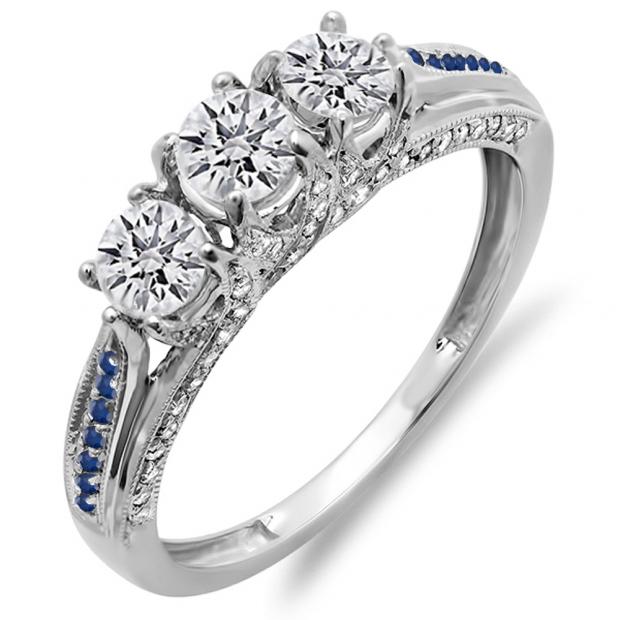 1.00 Carat (ctw) 14K White Gold Round White Diamond & Blue Sapphire Ladies Vintage Bridal 3 Stone Engagement Ring 1 CT