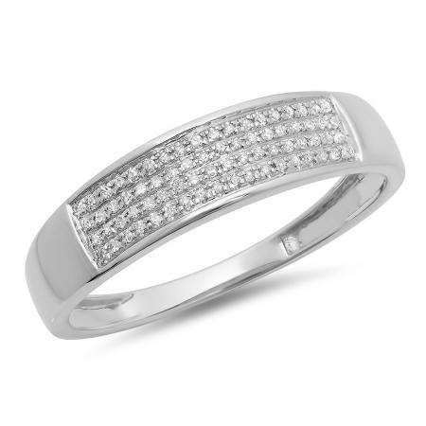 0.15 Carat (ctw) 10K White Gold Round Diamond Men