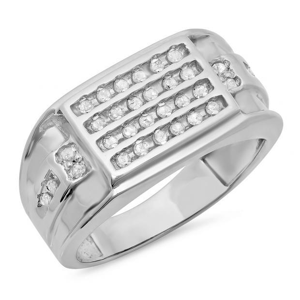 0.44 Carat (ctw) Sterling Silver Round White Diamond Men