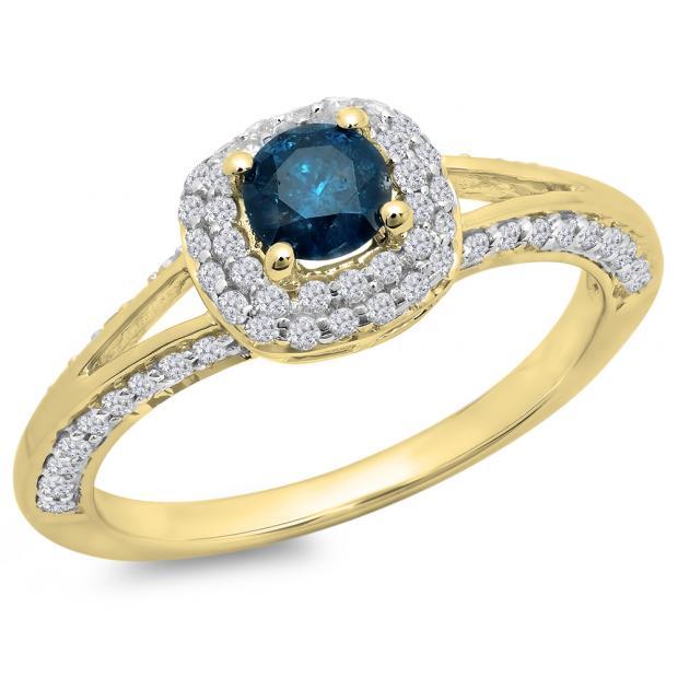 0.90 Carat (ctw) 10K Yellow Gold Round Cut Blue & White Diamond Ladies Bridal Split Shank Halo Style Engagement Ring