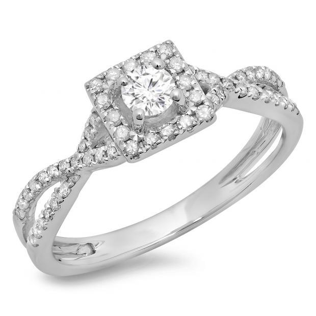 0.50 Carat (ctw) 10K White Gold Round Cut Diamond Ladies Bridal Swirl Split Shank Halo Engagement Ring 1/2 CT