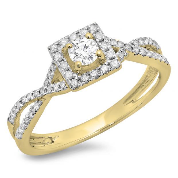 0.50 Carat (ctw) 18K Yellow Gold Round Cut Diamond Ladies Bridal Swirl Split Shank Halo Engagement Ring 1/2 CT