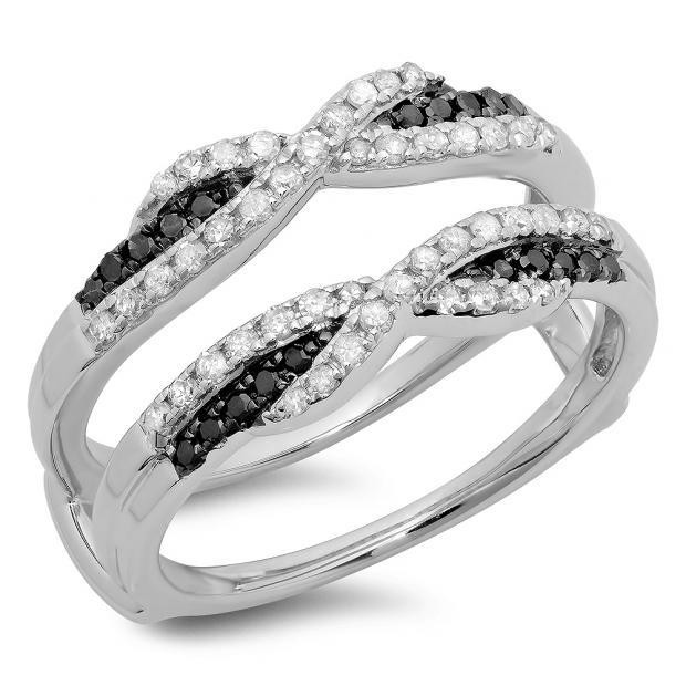 0.50 Carat (ctw) 10K White Gold Round Black & White Diamond Ladies Swirl Anniversary Wedding Band Enhancer Guard Double Ring 1/2 CT