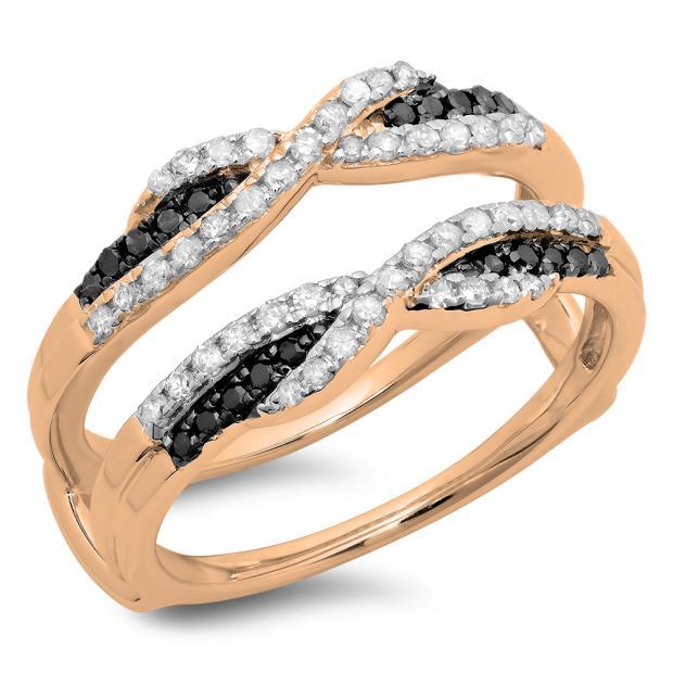 0.50 Carat (ctw) 14K Rose Gold Round Black & White Diamond Ladies Swirl Anniversary Wedding Band Enhancer Guard Double Ring 1/2 CT