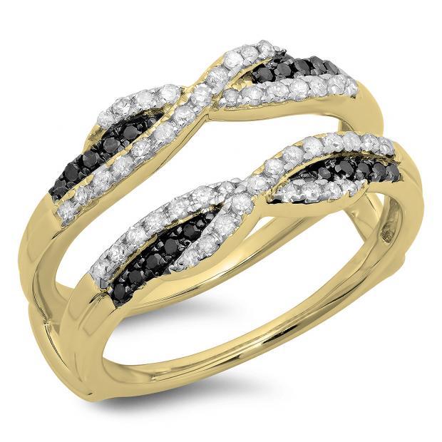 0.50 Carat (ctw) 14K Yellow Gold Round Black & White Diamond Ladies Swirl Anniversary Wedding Band Enhancer Guard Double Ring 1/2 CT