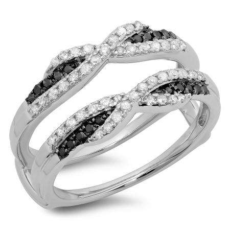 0.50 Carat (ctw) 18K White Gold Round Black & White Diamond Ladies Swirl Anniversary Wedding Band Enhancer Guard Double Ring 1/2 CT