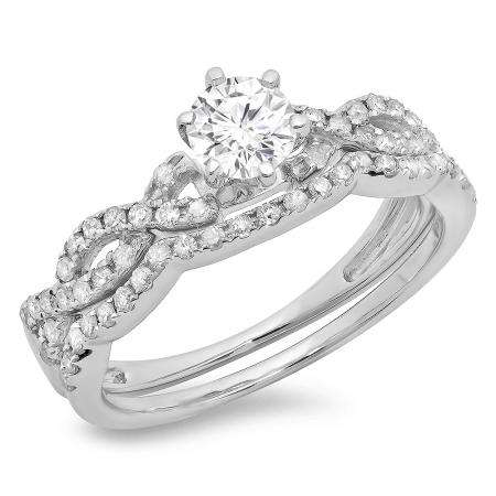 0.90 Carat (ctw) 10K White Gold Round Cut Diamond Ladies Bridal Twisted Swirl Engagement Ring Matching Wedding Band Set