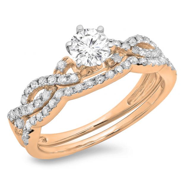 0.90 Carat (ctw) 18K Rose Gold Round Cut Diamond Ladies Bridal Twisted Swirl Engagement Ring Matching Wedding Band Set