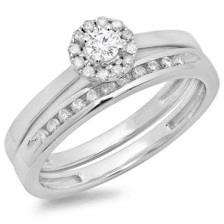 0.33 Carat (ctw) 10K White Gold Round Cut Diamond Ladies Bridal Halo Engagement Ring With Matching Band Set 1/3 CT