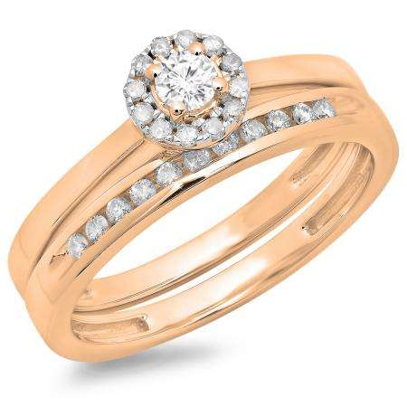 0.33 Carat (ctw) 14K Rose Gold Round Cut Diamond Ladies Bridal Halo Engagement Ring With Matching Band Set 1/3 CT