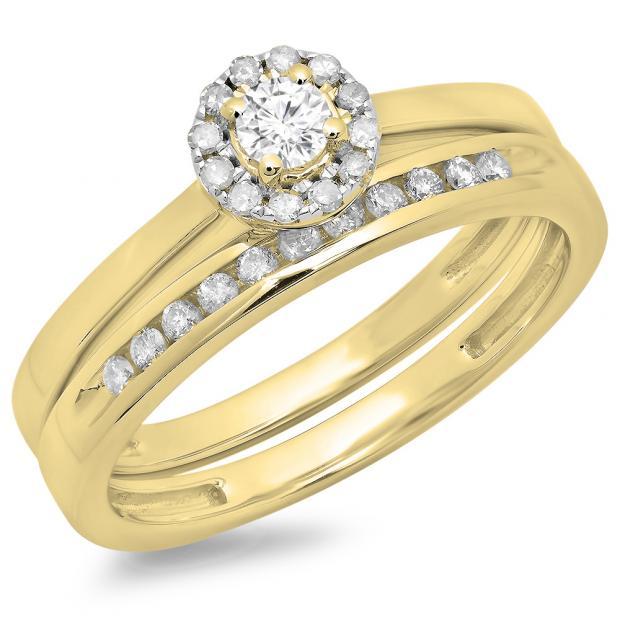 0.33 Carat (ctw) 14K Yellow Gold Round Cut Diamond Ladies Bridal Halo Engagement Ring With Matching Band Set 1/3 CT