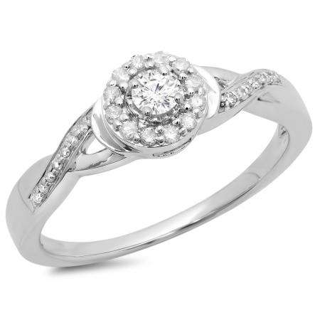 0.25 Carat (ctw) 10K White Gold Round Diamond Ladies Swirl Split Shank Bridal Halo Engagement Ring 1/4 CT