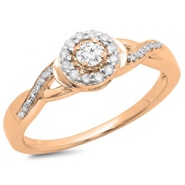 0.25 Carat (ctw) 14K Rose Gold Round Diamond Ladies Swirl Split Shank Bridal Halo Engagement Ring 1/4 CT