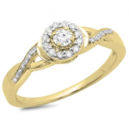 0.25 Carat (ctw) 14K Yellow Gold Round Diamond Ladies Swirl Split Shank Bridal Halo Engagement Ring 1/4 CT
