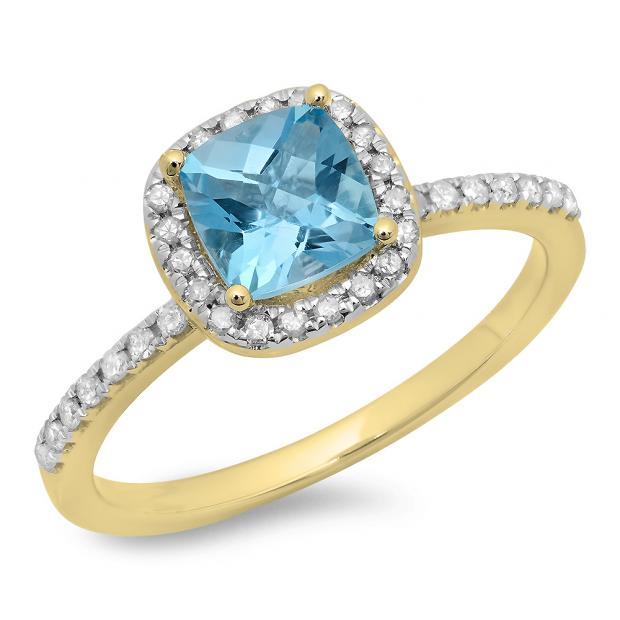 1.50 Carat (ctw) 14K Yellow Gold Cushion Cut Blue Topaz & Round Cut White Diamond Ladies Bridal Halo Style Engagement Ring 1 1/2 CT