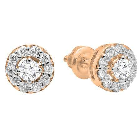 0.50 Carat (ctw) 14K Rose Gold Real Round Cut White Diamond Ladies Cluster Stud Earrings 1/2 CT
