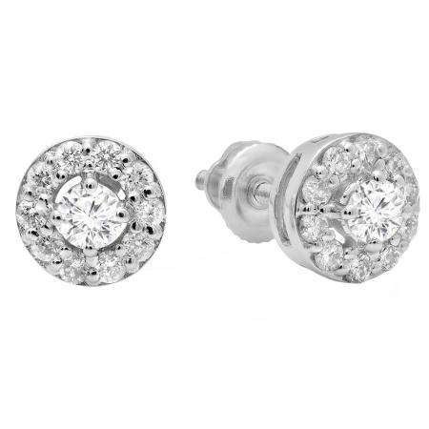 0.50 Carat (ctw) 18K White Gold Real Round Cut White Diamond Ladies Cluster Stud Earrings 1/2 CT