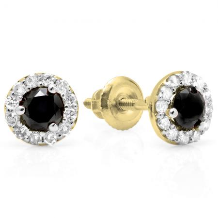 0.60 Carat (ctw) 14K Yellow Gold Real Round Cut Black & White Diamond Ladies Cluster Halo Style Stud Earrings