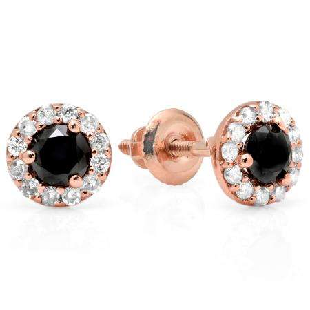 0.60 Carat (ctw) 18K Rose Gold Real Round Cut Black & White Diamond Ladies Cluster Halo Style Stud Earrings