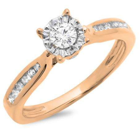 0.40 Carat (ctw) 10K Rose Gold Round Cut Diamond Ladies Bridal Solitaire With Accents Engagement Ring