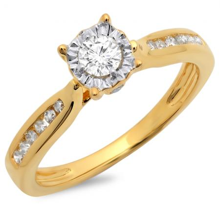 0.40 Carat (ctw) 14K Yellow Gold Round Cut Diamond Ladies Bridal Solitaire With Accents Engagement Ring