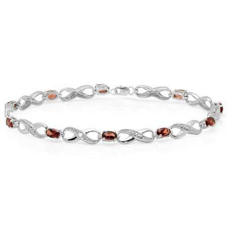 2.70 Carat (ctw) Sterling Silver Real Oval Cut Garnet & Round Cut White Diamond Ladies Infinity Link Tennis Bracelet