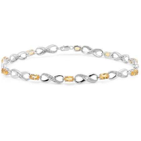 2.27 Carat (ctw) Sterling Silver Real Oval Cut Citrine & Round Cut White Diamond Ladies Infinity Link Tennis Bracelet