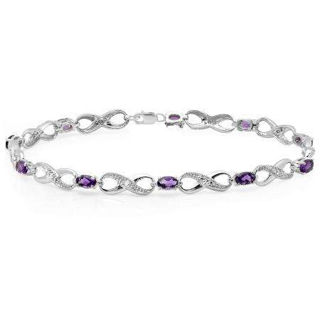 2.26 Carat (ctw) Sterling Silver Real Oval Cut Amethyst & Round Cut White Diamond Ladies Infinity Link Tennis Bracelet