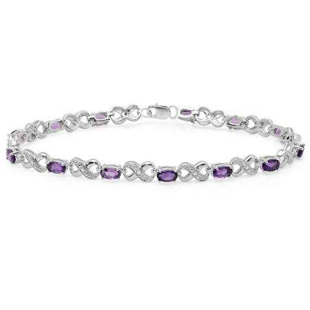 2.94 Carat (ctw) Sterling Silver Real Oval Cut Amethyst & Round Cut White Diamond Ladies Infinity Link Tennis Bracelet