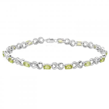 3.18 Carat (ctw) Sterling Silver Real Oval Cut Peridot & Round Cut White Diamond Ladies Infinity Link Tennis Bracelet