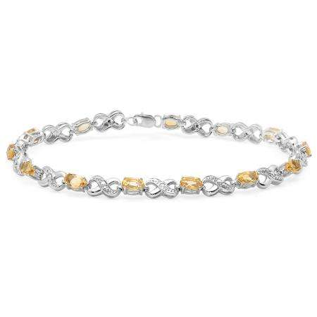 2.94 Carat (ctw) Sterling Silver Real Oval Cut Citrine & Round Cut White Diamond Ladies Infinity Link Tennis Bracelet