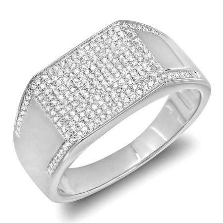 0.83 Carat (ctw) Platinum Plated Sterling Silver Round Cut Diamond Men